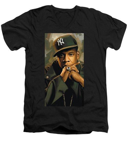 Jay-z Artwork 2 Men's V-Neck T-Shirt by Sheraz A