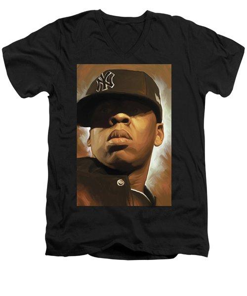 Jay-z Artwork Men's V-Neck T-Shirt by Sheraz A