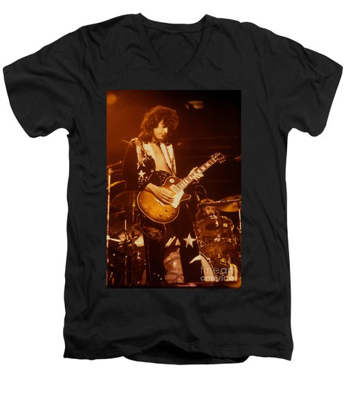 Jimmy Page 1975 Men's V-Neck T-Shirt by David Plastik