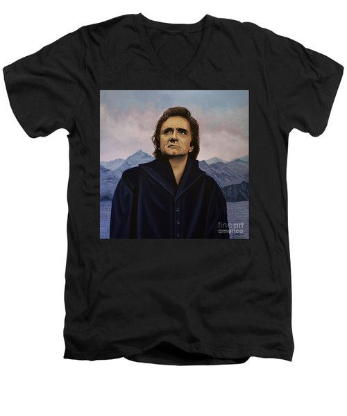Johnny Cash Painting Men's V-Neck T-Shirt by Paul Meijering