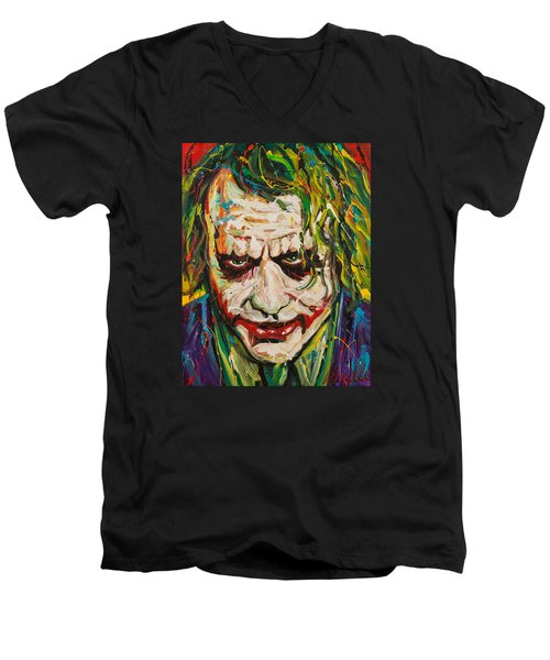 Joker Men's V-Neck T-Shirt by Michael Wardle