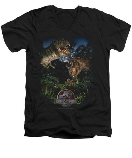 Jurassic Park - Happy Family Men's V-Neck T-Shirt by Brand A