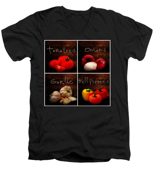 Kitchen Ingredients Collage II Men's V-Neck T-Shirt by Lourry Legarde