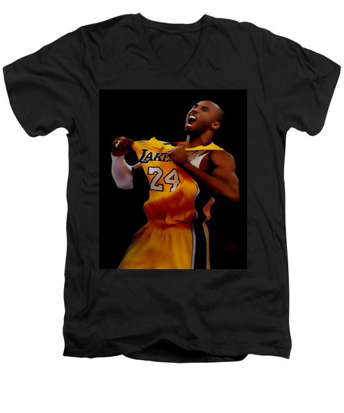 Kobe Bryant Sweet Victory Men's V-Neck T-Shirt by Brian Reaves
