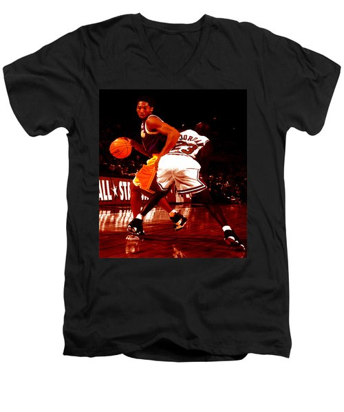 Kobe Spin Move Men's V-Neck T-Shirt by Brian Reaves