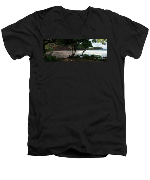 Koki Beach Hana Maui Hawaii Men's V-Neck T-Shirt by Sharon Mau