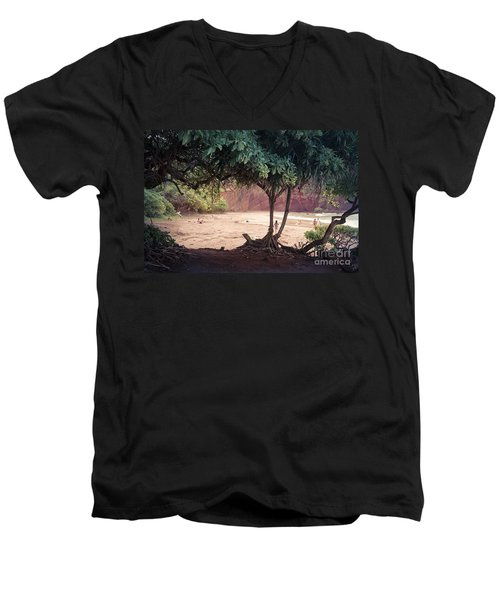 Koki Beach Kaiwiopele Haneo'o Hana Maui Hikina Hawaii Men's V-Neck T-Shirt by Sharon Mau