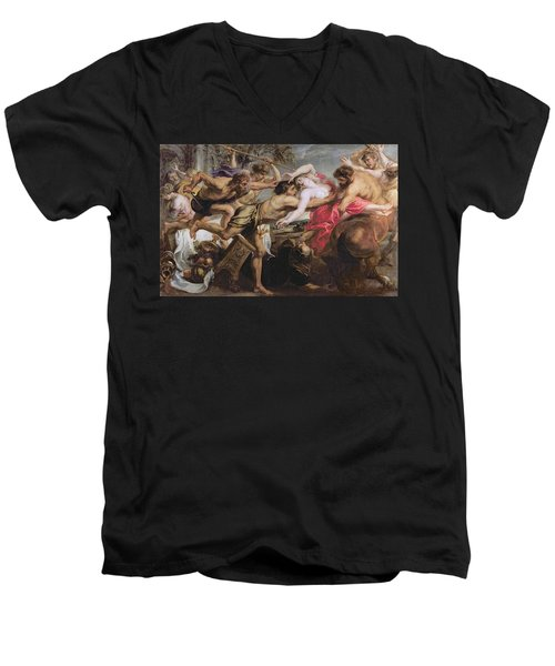 Lapiths And Centaurs Oil On Canvas Men's V-Neck T-Shirt by Peter Paul Rubens