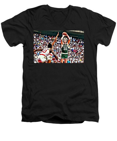 Larry Bird Men's V-Neck T-Shirt by Florian Rodarte