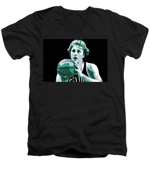 Larry Bird Poster Art Men's V-Neck T-Shirt by Florian Rodarte
