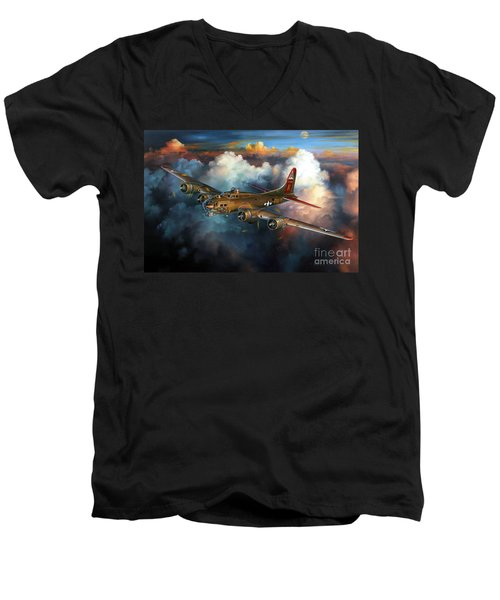 Last Flight For Nine-o-nine Men's V-Neck T-Shirt by Randy Green
