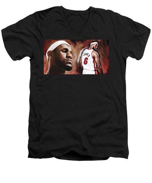 Lebron James Artwork 2 Men's V-Neck T-Shirt by Sheraz A