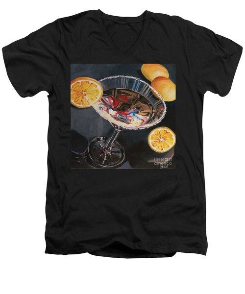 Lemon Drop Men's V-Neck T-Shirt by Debbie DeWitt