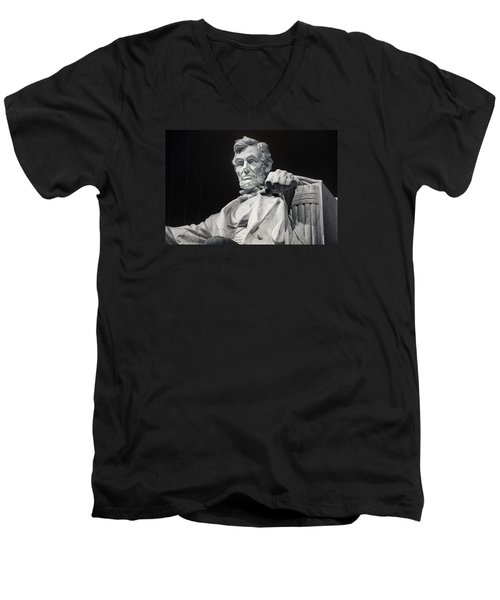 Lincoln Men's V-Neck T-Shirt by Joan Carroll
