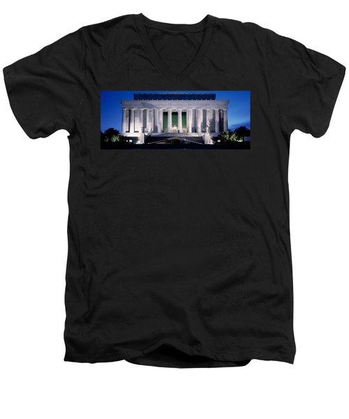 Lincoln Memorial At Dusk, Washington Men's V-Neck T-Shirt by Panoramic Images