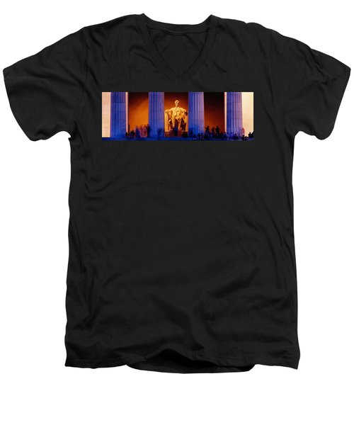Lincoln Memorial, Washington Dc Men's V-Neck T-Shirt by Panoramic Images