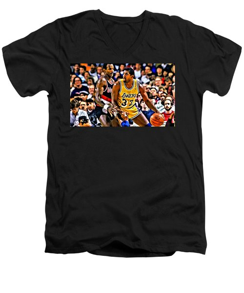 Magic Johnson Vs Clyde Drexler Men's V-Neck T-Shirt by Florian Rodarte