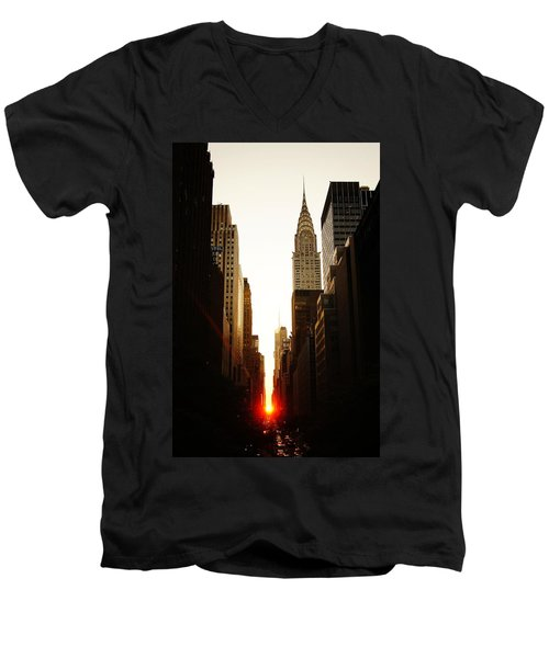 Manhattanhenge Sunset And The Chrysler Building  Men's V-Neck T-Shirt by Vivienne Gucwa