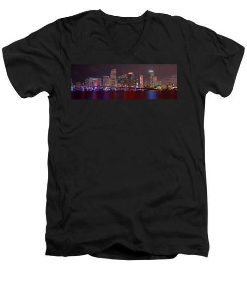 Miami Skyline At Night Panorama Color Men's V-Neck T-Shirt by Jon Holiday