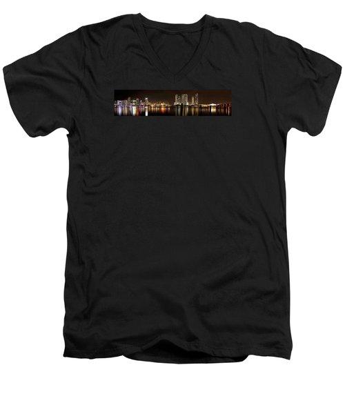 Miami - Skyline Panorama Men's V-Neck T-Shirt by Brendan Reals