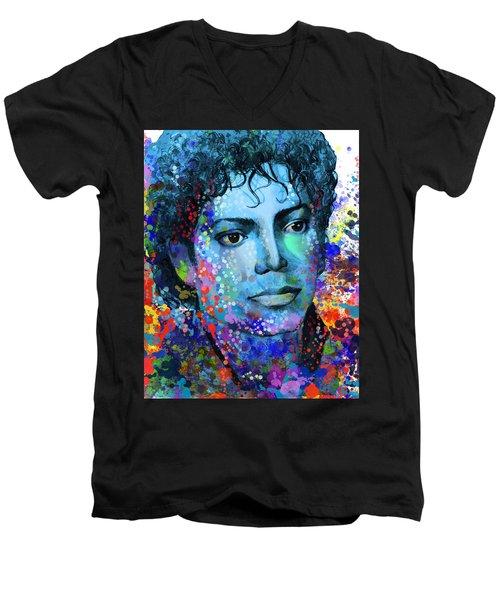 Michael Jackson 14 Men's V-Neck T-Shirt by Bekim Art