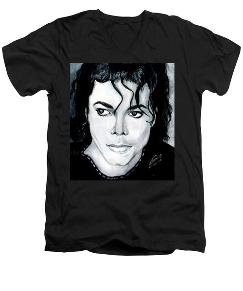 Michael Jackson Portrait Men's V-Neck T-Shirt by Alban Dizdari