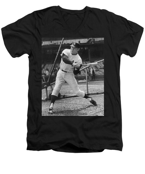Mickey Mantle Poster Men's V-Neck T-Shirt by Gianfranco Weiss