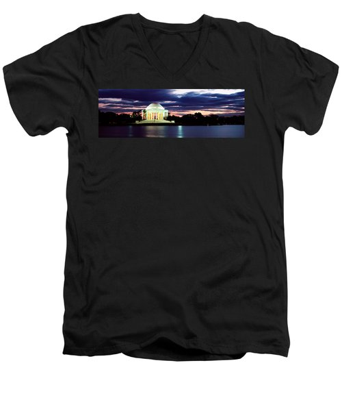 Monument Lit Up At Dusk, Jefferson Men's V-Neck T-Shirt by Panoramic Images