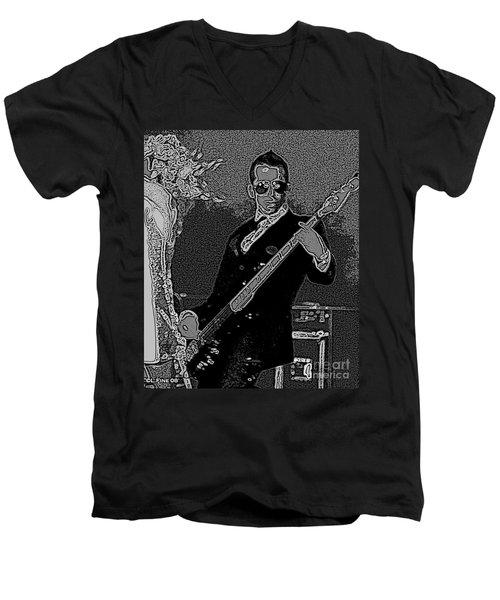 Bass Player Art Bw Men's V-Neck T-Shirt by Lesa Fine