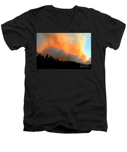 Men's V-Neck T-Shirt featuring the photograph Myrtle Fire Near Rifle Pit Road by Bill Gabbert