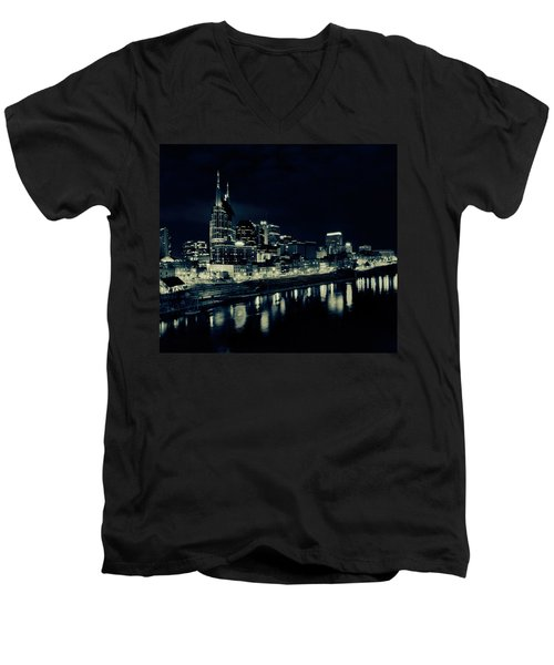 Nashville Skyline Reflected At Night Men's V-Neck T-Shirt by Dan Sproul