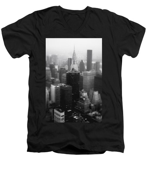 New York City - Fog And The Chrysler Building Men's V-Neck T-Shirt by Vivienne Gucwa