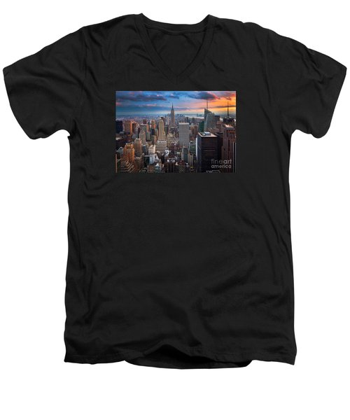 New York New York Men's V-Neck T-Shirt by Inge Johnsson