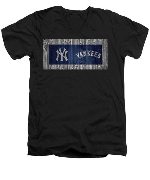 New York Yankees Barn Door Men's V-Neck T-Shirt by Dan Sproul