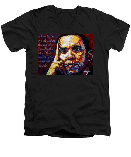 Obama Men's V-Neck T-Shirt by Maria Arango