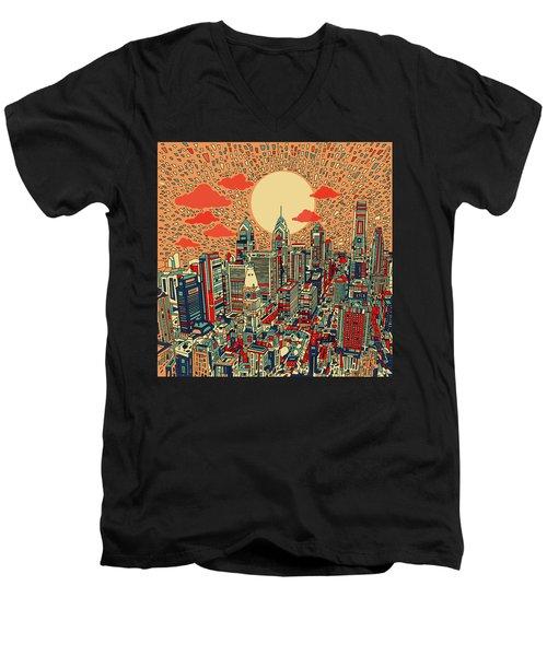 Philadelphia Dream Men's V-Neck T-Shirt by Bekim Art