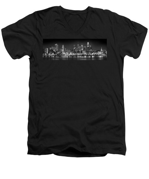 Philadelphia Philly Skyline At Night From East Black And White Bw Men's V-Neck T-Shirt by Jon Holiday