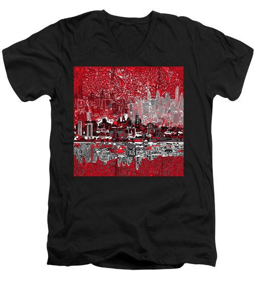 Philadelphia Skyline Abstract 4 Men's V-Neck T-Shirt by Bekim Art
