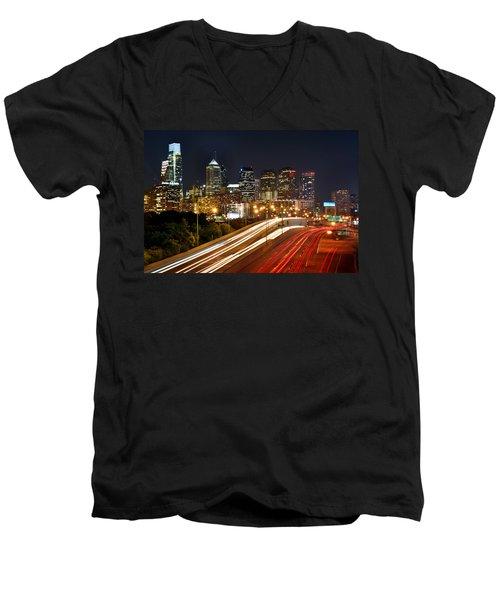 Philadelphia Skyline At Night In Color Car Light Trails Men's V-Neck T-Shirt by Jon Holiday