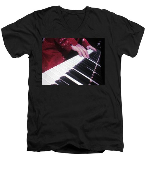 Piano Man At Work Men's V-Neck T-Shirt by Aaron Martens