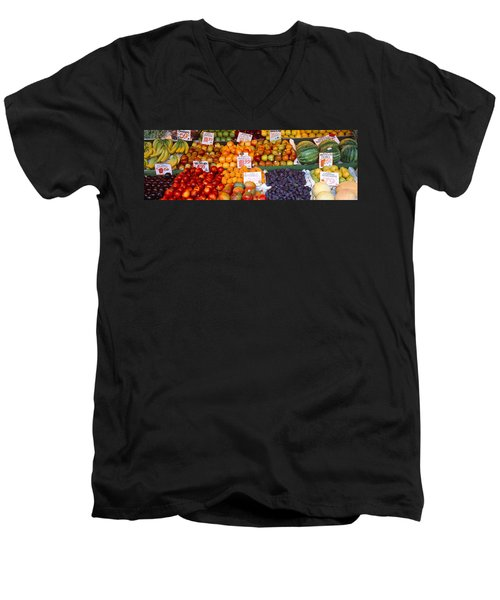 Pike Place Market Seattle Wa Usa Men's V-Neck T-Shirt by Panoramic Images