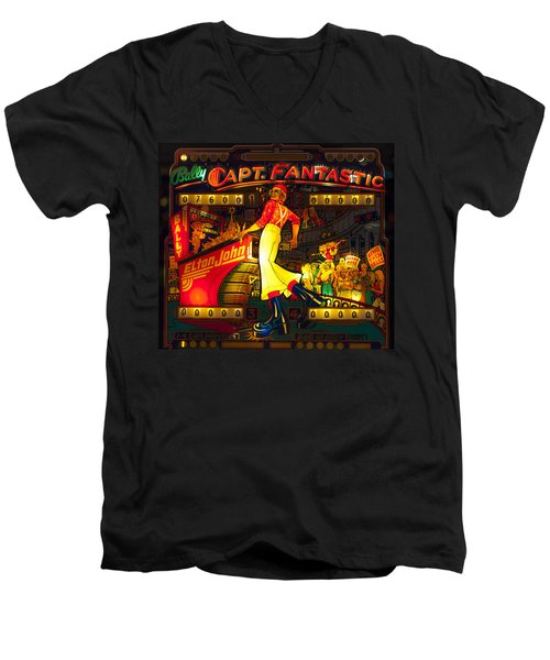 Pinball Machine Capt. Fantastic Men's V-Neck T-Shirt by Terry DeLuco