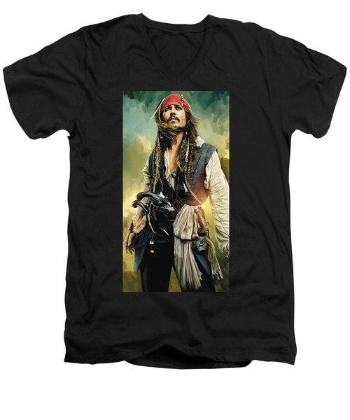 Pirates Of The Caribbean Johnny Depp Artwork 1 Men's V-Neck T-Shirt by Sheraz A