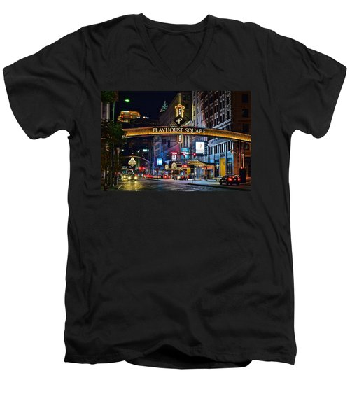 Playhouse Square Men's V-Neck T-Shirt by Frozen in Time Fine Art Photography