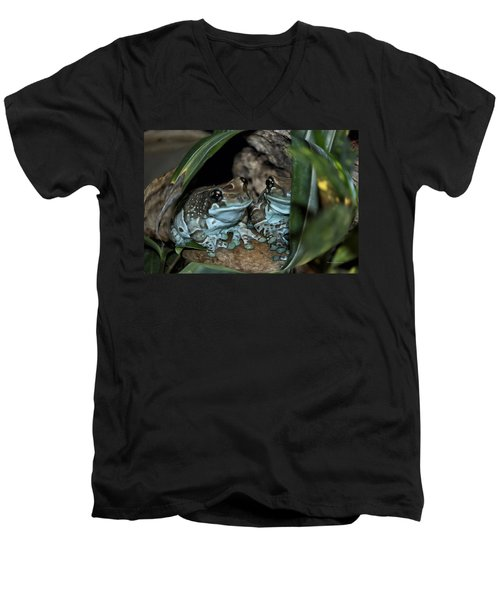 Poisonous Frogs With Sticky Feet Men's V-Neck T-Shirt by Thomas Woolworth