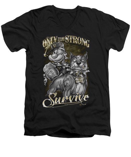 Popeye - Only The Strong Men's V-Neck T-Shirt by Brand A