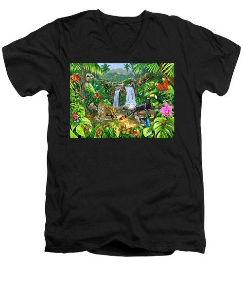 Rainforest Harmony Variant 1 Men's V-Neck T-Shirt by Chris Heitt