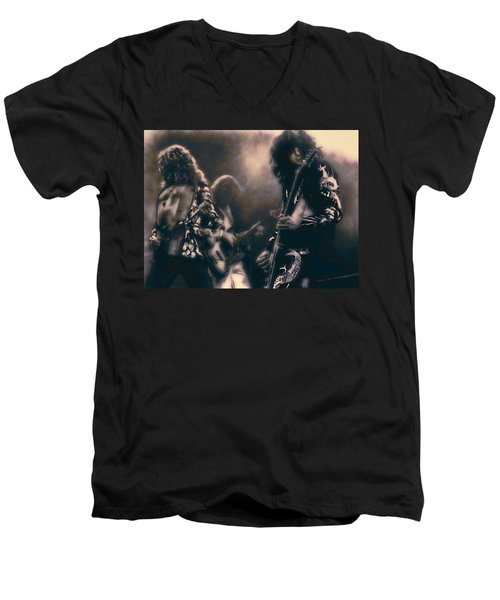 Raw Energy Of Led Zeppelin Men's V-Neck T-Shirt by Daniel Hagerman