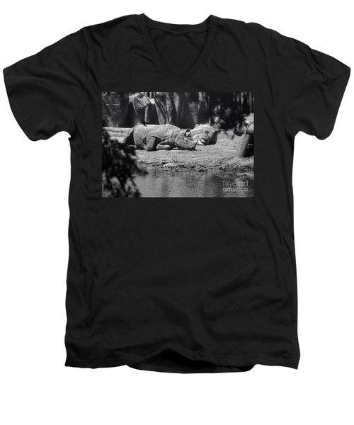 Rhino Nap Time Men's V-Neck T-Shirt by Thomas Woolworth