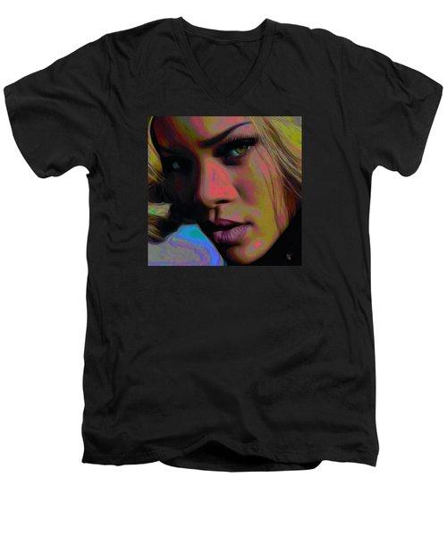Ri Ri Men's V-Neck T-Shirt by  Fli Art